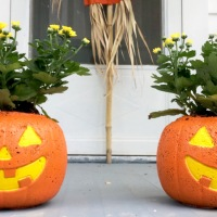 How to Make Concrete Pumpkin Planters
